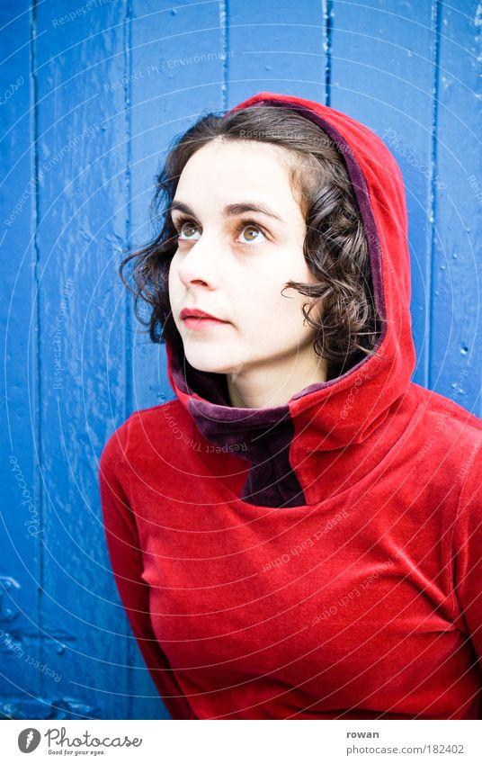 Woman Human being Beautiful Blue Red Portrait photograph Colour Feminine Wood Fashion Adults Fairy tale Elegant Hope Clothing