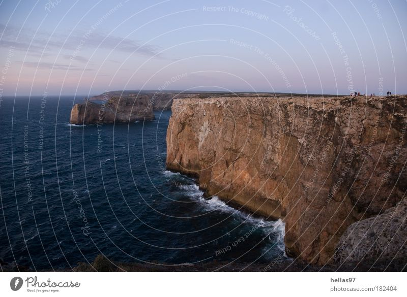 Water Ocean Blue Loneliness Far-off places Stone Landscape Brown Waves Coast Rock Threat Night sky Uniqueness Elements Portugal