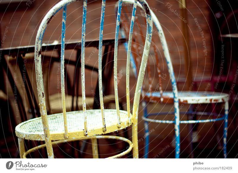 Old Blue Calm Yellow Dye Brown Table Gloomy Retro Simple Café Chair Abrasion Backrest Gastronomy Sidewalk café