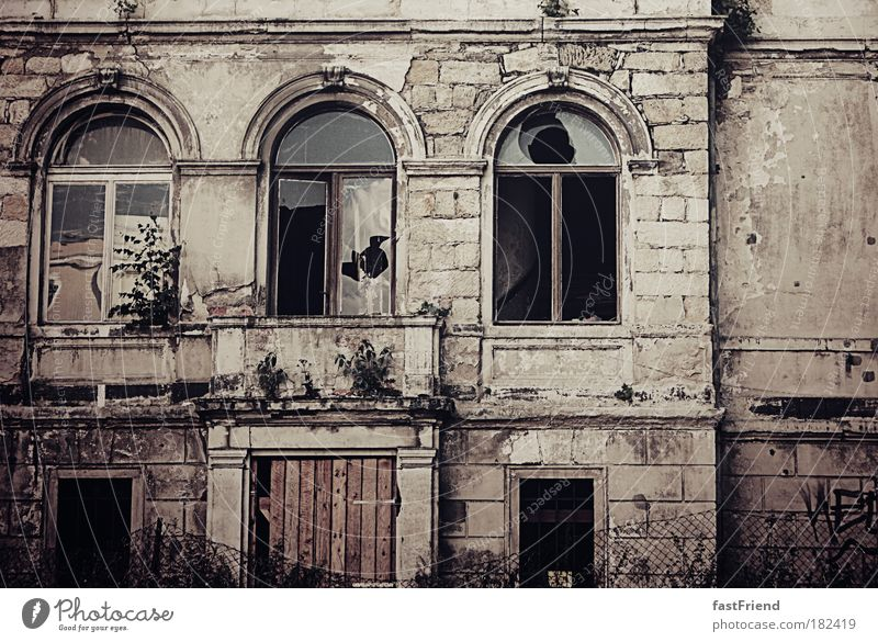 Old Calm House (Residential Structure) Window Wall (building) Wall (barrier) Brown Door Broken Gloomy Threat Retro Transience Creepy Dresden