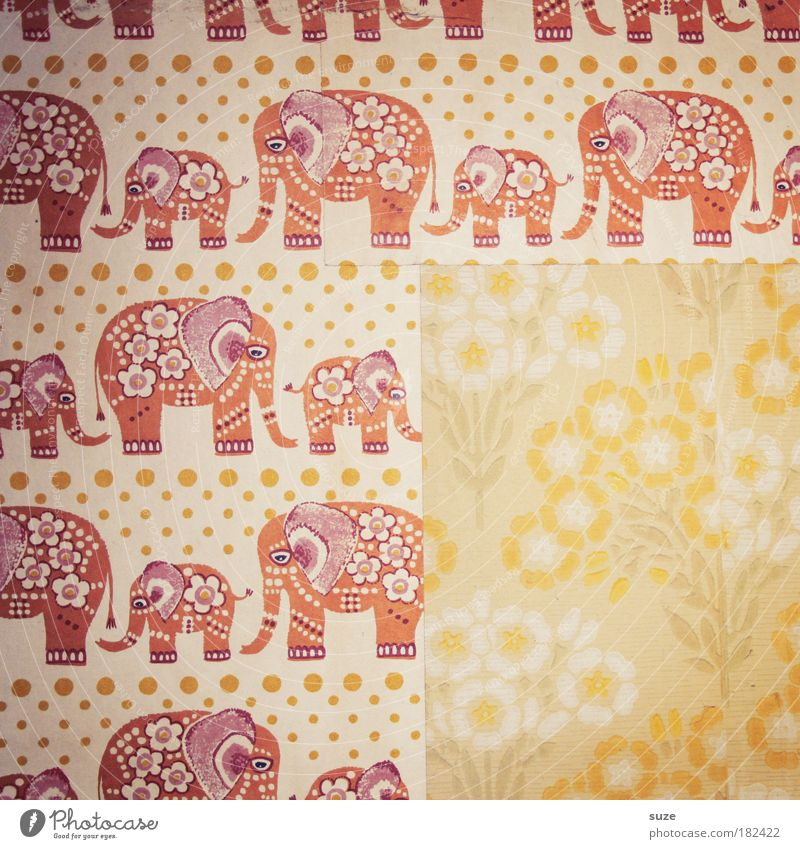 elephant meadow Decoration Wallpaper Old Retro Elephant Children's room Flowery pattern Row Infancy Past Memory Wallpaper pattern Design Wall (building)