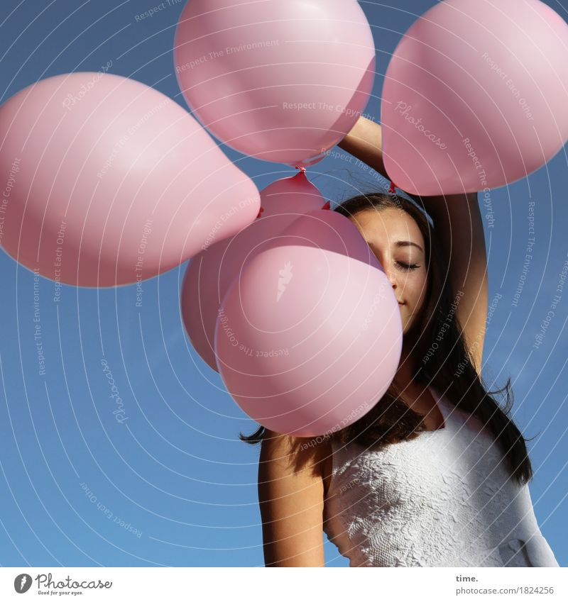 Enjoy. Feminine Woman Adults 1 Human being Cloudless sky Beautiful weather Dress Brunette Long-haired Balloon Relaxation To hold on To enjoy Stand Dream