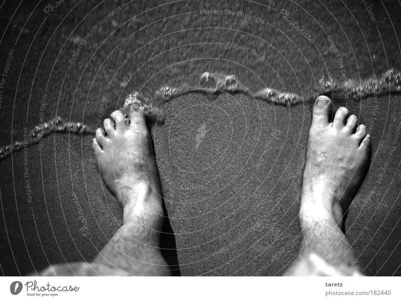 Human being Nature Water Ocean Beach Cold Coast Gray Sand Feet Waves Wet Stand Doomed Go under Self portrait
