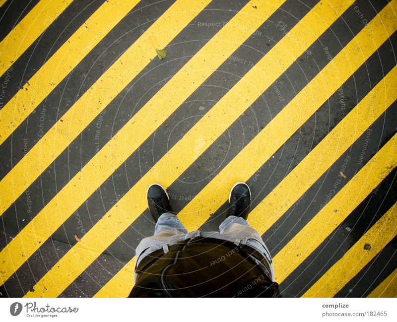 Human being Man Yellow Feet Line Legs Art Adults Going Masculine Stand Stripe Pants Traffic infrastructure Diagonal Textiles