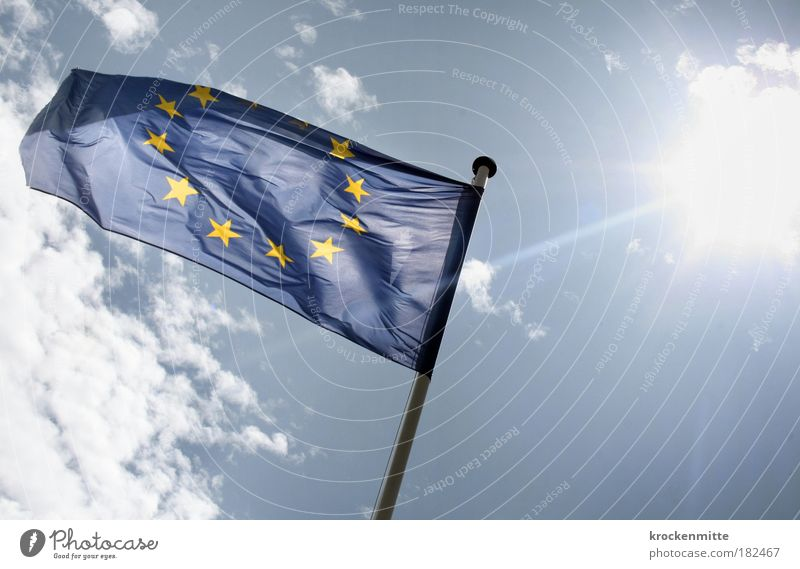 Sun Blue Clouds Yellow Stars Europe Flag Sign Wrinkles Symbols and metaphors Society Blow 12 Flagpole Folds Alliance