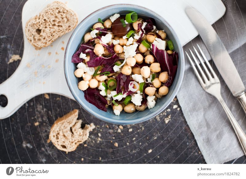 chickpea salad Food Cheese Dairy Products Vegetable Bread Roll Nutrition Lunch Organic produce Vegetarian diet Diet Bowl Cutlery Knives Fork Healthy Eating