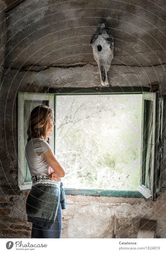 Human being Youth (Young adults) Old Green Young woman White Window 18 - 30 years Adults Exceptional Gray Brown Moody Gloomy Bushes Future