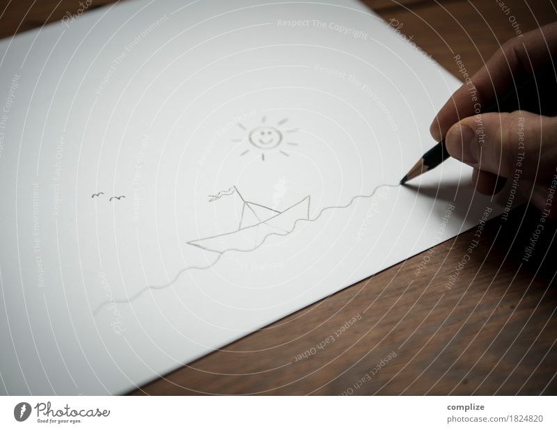 Vacation & Travel Summer Sun Ocean Joy Beach Style Swimming & Bathing Tourism Living or residing Leisure and hobbies Waves Idyll Paper Painting (action, work) Draw