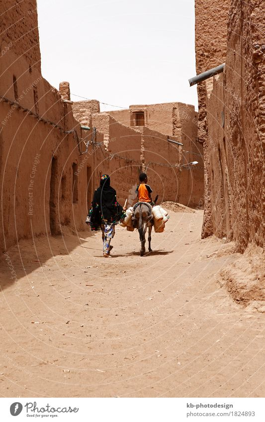 Desert inhabitants with donkeys in the West Sahara Vacation & Travel Tourism Adventure Far-off places City trip Toddler Woman Adults Sand Summer plan Planning