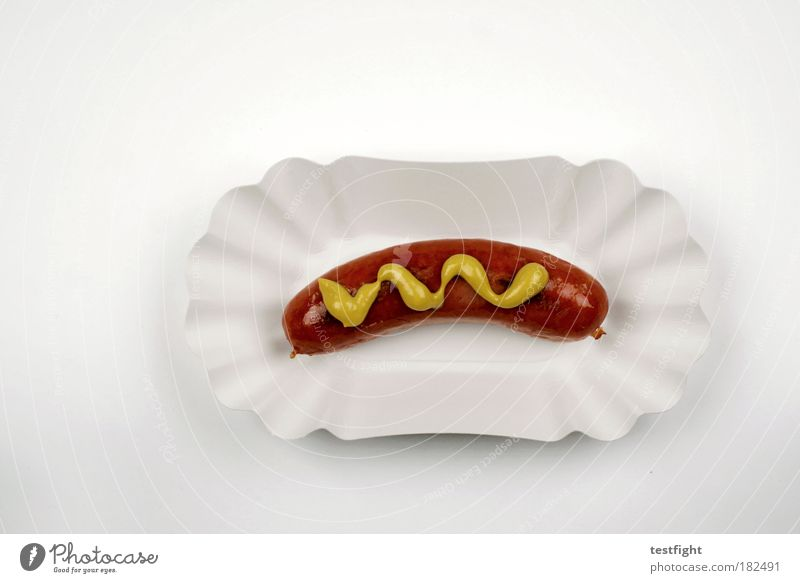 a red one with mustard Food Meat Sausage Nutrition Lunch Fast food Plate Fragrance Good Hot Small sausage Bratwurst Appetite Brunch Colour photo Detail