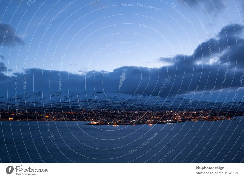 Icelandic city Akureyri at night, wintertime Vacation & Travel Tourism Adventure Far-off places Winter vacation North Iceland clouds blue hour lights panorama