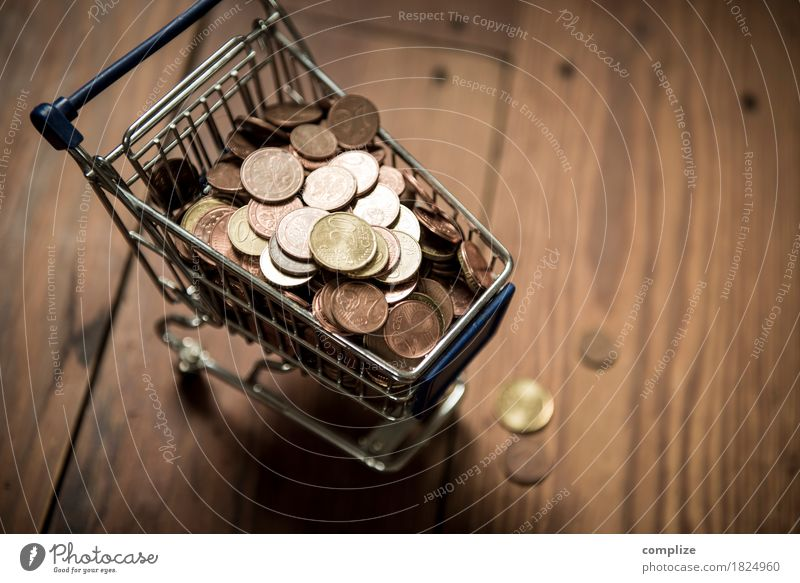 € coins Food Trade Tight-fisted Shopping Shopping Trolley Save Cent Euro Money Financial Industry Offer Store premises Supermarket Full Load Coin Colour photo