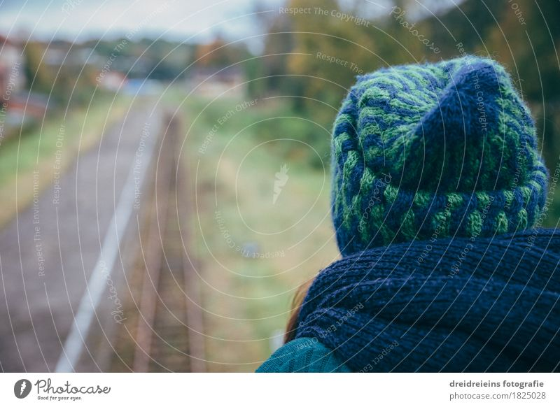 View into the distance. Well-being Contentment Relaxation Calm Vacation & Travel Far-off places Freedom Feminine Woman Adults Rail transport Train station
