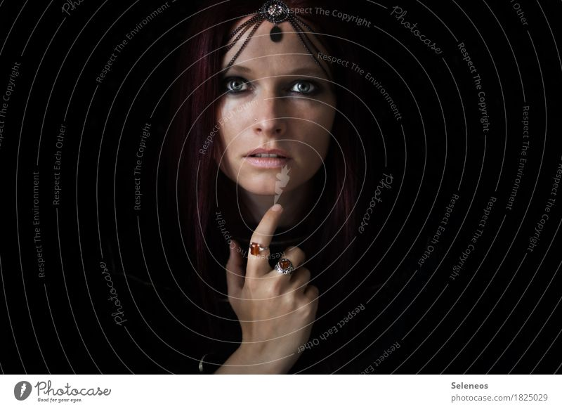 Human being Woman Beautiful Hand Calm Dark Face Adults Eyes Feminine Glittering Arm Uniqueness Fingers Touch Hope
