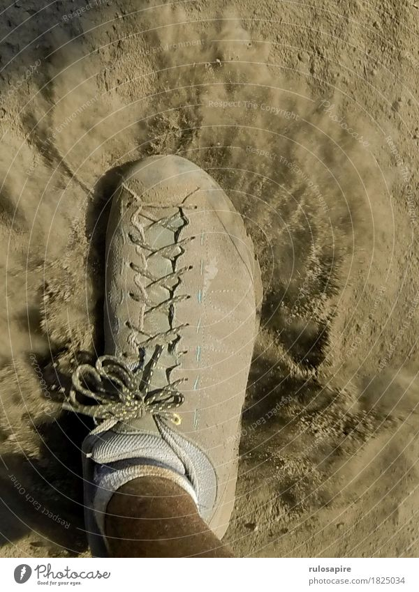 Dust Explosion 1 Feet Going Footwear Lanes & trails Cloud of dust Gray Beige Shoelace Stride Hiking Footstep Occur Cause a stir Dusty dust up Colour photo