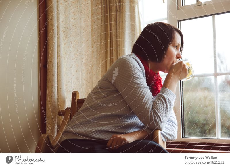 Woman watching through window drinking tea Loneliness Adults Sadness Think Bright Meditative Wait Idea Observe Soft Drinking Chair Tea Home Nostalgia