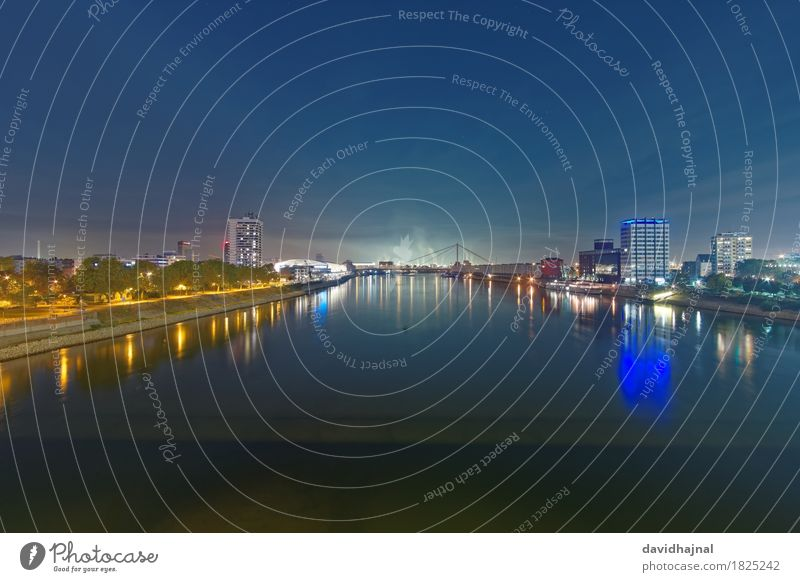 Mannheim and Ludwigshafen Tourism Sightseeing City trip Landscape Water River bank Rhine Town Skyline Deserted Tourist Attraction Blue Yellow Green Relaxation