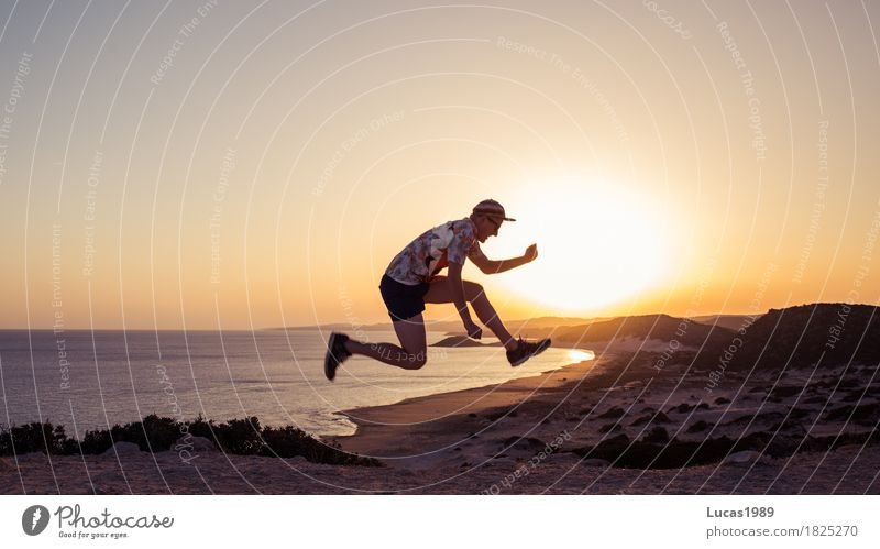 Jump into the sunset Athletic Fitness Vacation & Travel Adventure Far-off places Freedom Summer Summer vacation Sun Beach Ocean Island Human being Masculine