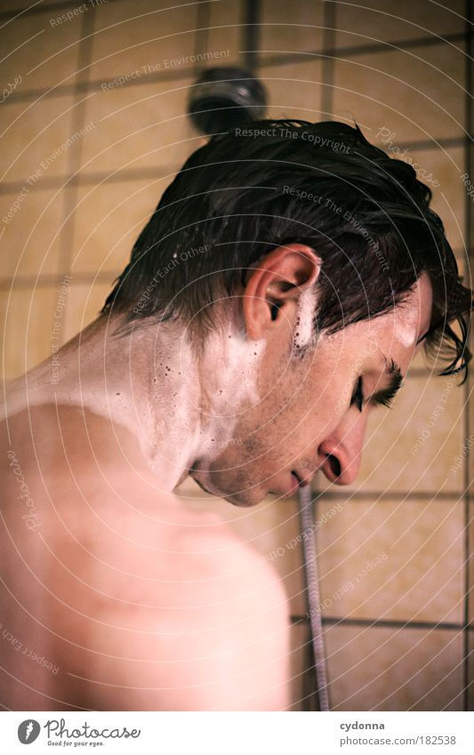 shower scene Colour photo Interior shot Close-up Detail Copy Space bottom Day Light Shadow Contrast Deep depth of field Central perspective Long shot