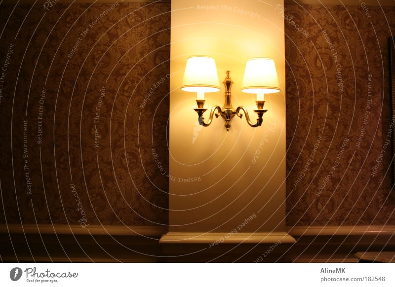 Wall (building) Wall (barrier) Lamp Gold Pink Elegant Living or residing Luxury Wallpaper Hallway Light