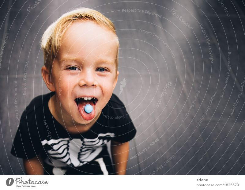 Cheeky little boy stretching out tongue while eating sweets Child Blue Joy Eating Lifestyle Boy (child) Food Copy Space Infancy To enjoy Smiling Mouth Candy