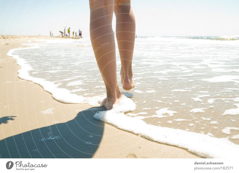Human being Youth (Young adults) Water Sun Ocean Summer Joy Beach Vacation & Travel Relaxation Feminine Movement Happy Dream Feet Sand