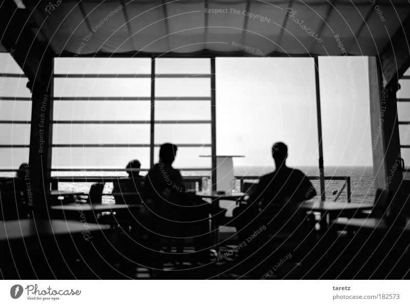 Clear view all the way to America Black & white photo Interior shot Day Twilight Contrast Silhouette Central perspective Forward Style Happy Summer vacation