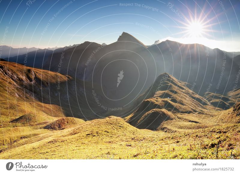 morning sunshine over mountain range, Alps, Austria Sky Nature Vacation & Travel Blue Sun Landscape Mountain Meadow Autumn Rock Fog Vantage point Europe Hill