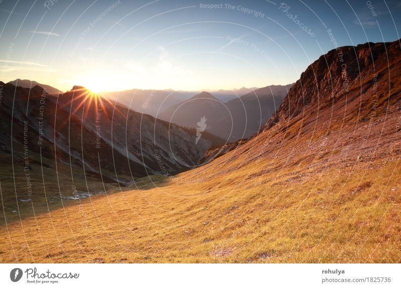 autunm sunrise over mountains in Alps, Austria Sky Nature Vacation & Travel Blue Sun Landscape Mountain Meadow Autumn Lifestyle Stone Rock Vantage point Europe