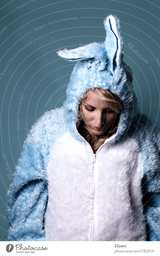 Human being Blue Beautiful Sadness Dream Blonde Stand Cute Easter Soft Ear Pelt Profession Pain Suit Hare & Rabbit & Bunny