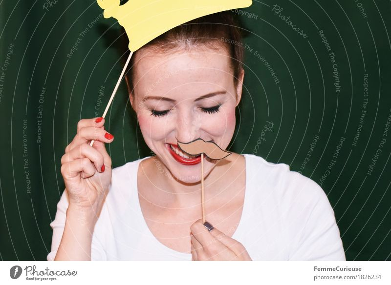 Mustache&Crown_1826234 Joy Feminine Young woman Youth (Young adults) Woman Adults Human being 18 - 30 years Creativity Joie de vivre (Vitality) Ease Party guest