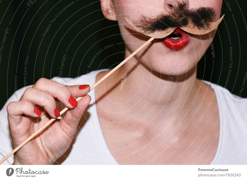 Mustache_1826243 Joy Feminine Young woman Youth (Young adults) Woman Adults Human being 18 - 30 years Moustache Moustache hair Facial hair Beard hair Masculine
