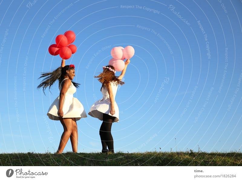 . Feminine 2 Human being Sky Horizon Meadow Dress Hair circlet Black-haired Brunette Long-haired Balloon Relaxation Laughter Dance Happiness Funny Beautiful Joy