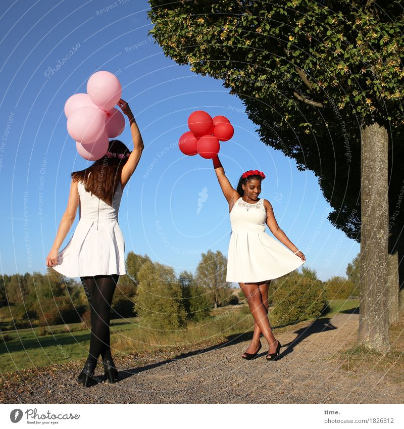 . Feminine 2 Human being Sky Autumn Beautiful weather Tree Park Lanes & trails Dress Black-haired Brunette Long-haired Balloon Movement To hold on Stand Dance