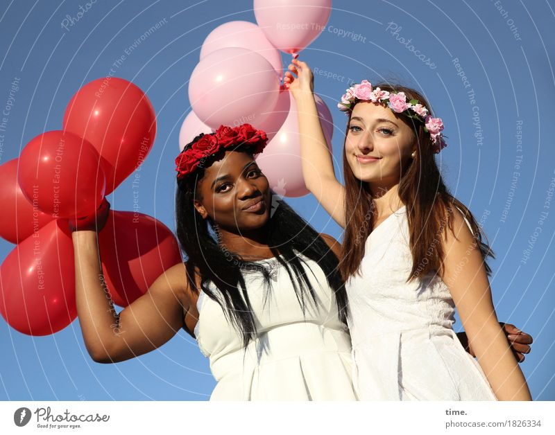. Feminine Woman Adults 2 Human being Cloudless sky Dress Jewellery Hairband Black-haired Brunette Long-haired Balloon Observe To hold on Smiling Looking