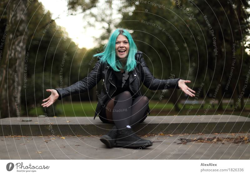 Portrait of a young, laughing woman with turquoise hair, stretching out her arms Style Joy already Young woman Youth (Young adults) 18 - 30 years Adults