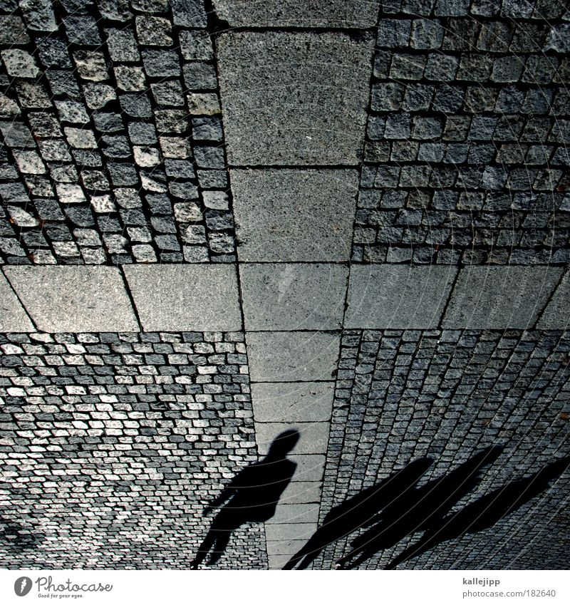 Human being Stone Group Shadow Christian cross Cobblestones Paving stone Pedestrian Christianity Paving tiles Shadow play Pedestrian precinct Shadowy existence