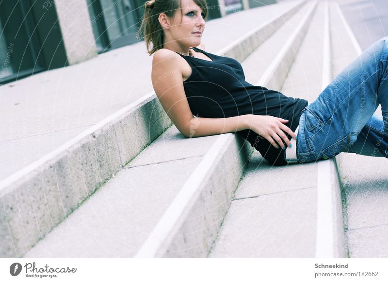 Woman Human being Youth (Young adults) City Beautiful Calm Adults Relaxation Feminine Life Wall (building) Happy Style Building Wall (barrier) Arm