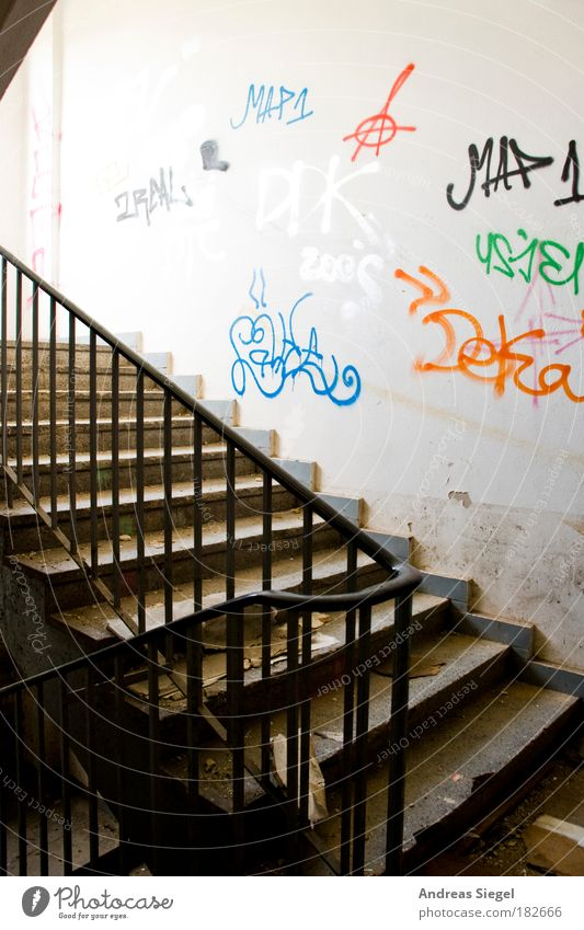 Old White House (Residential Structure) Life Wall (building) Graffiti Architecture Building Wall (barrier) Bright Flat (apartment) Dirty Interior design Stairs Broken Hope