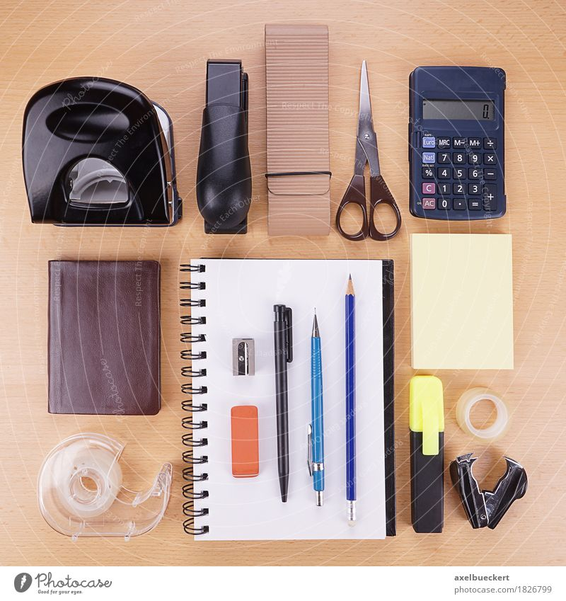 Stationery flat lay Leisure and hobbies Desk Table Office work Workplace Business Arrangement Hole puncher Stapler Scissors Pocket calculator Calendar Notebook