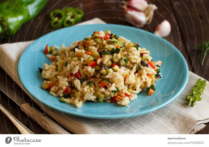 Risotto with vegetables Food Vegetable Grain Nutrition Lunch Dinner Vegetarian diet Diet Plate Bottle Fork Wood Delicious cook Cooking Culinary dieting Dish