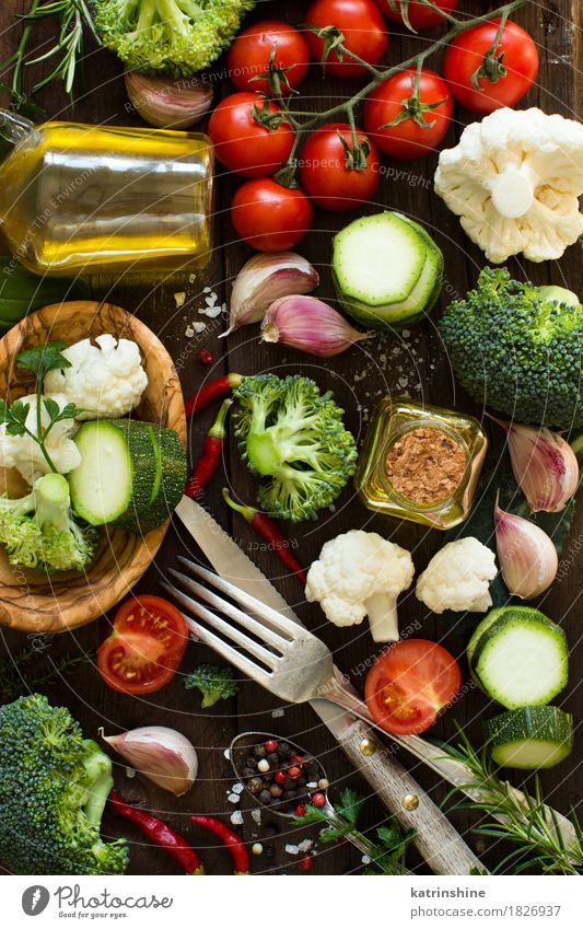 Fresh vegetables on a wooden table Food Vegetable Herbs and spices Cooking oil Nutrition Eating Vegetarian diet Diet Bottle Fork Spoon Summer Table Leaf Healthy