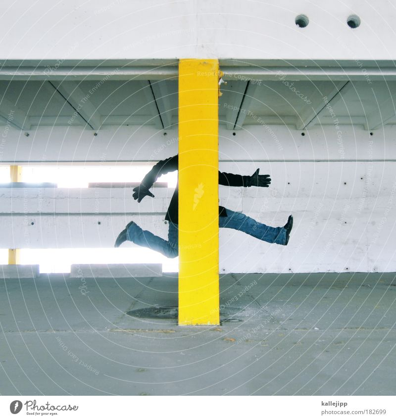 Human being Man Hand Adults Yellow Window Wall (building) Protection Architecture Gray Wall (barrier) Jump Style Legs Feet Arm