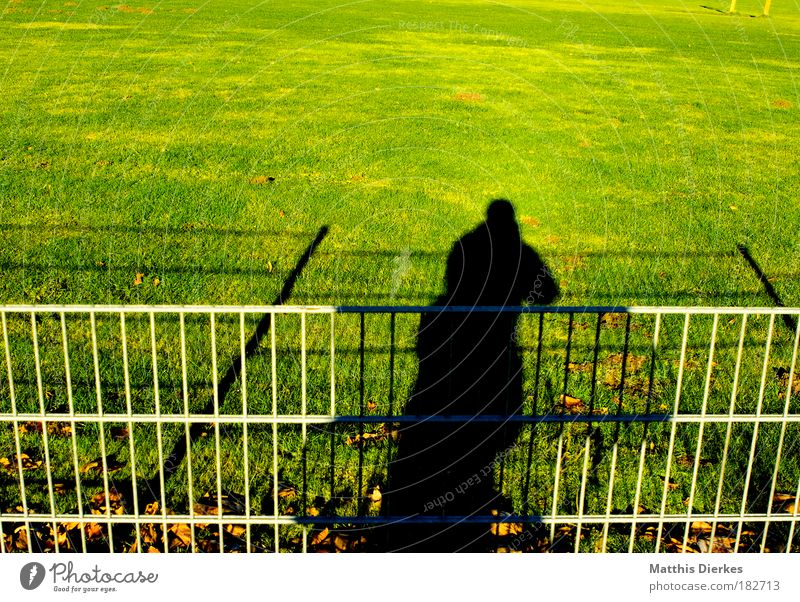 shadow Human being Man Photographer Self portrait Distorted Sun Fence Lawn Grass surface Meadow Football pitch Looking Audience circular league