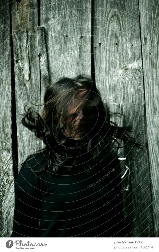 free your mind Colour photo Exterior shot Detail Feminine Hair and hairstyles Black-haired Long-haired Movement Crazy Dark-haired Strand of hair