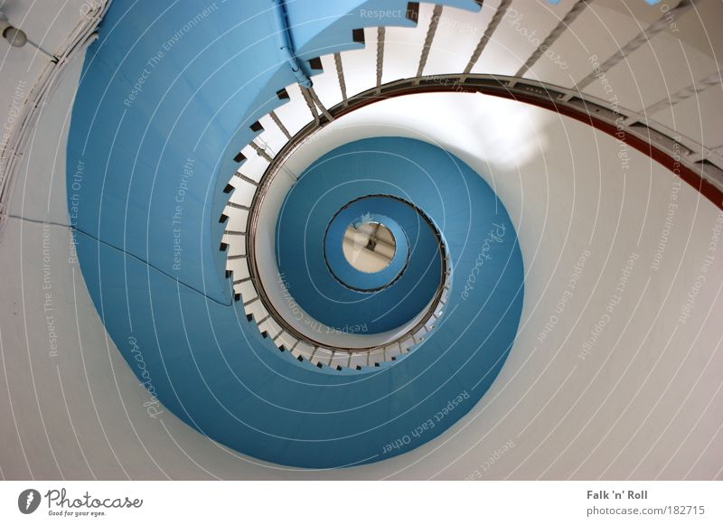 Blue Stairs Architecture Fishing village Harbour Tower Lighthouse Manmade structures Building Tourist Attraction Winding staircase Banister Spiral Colour photo