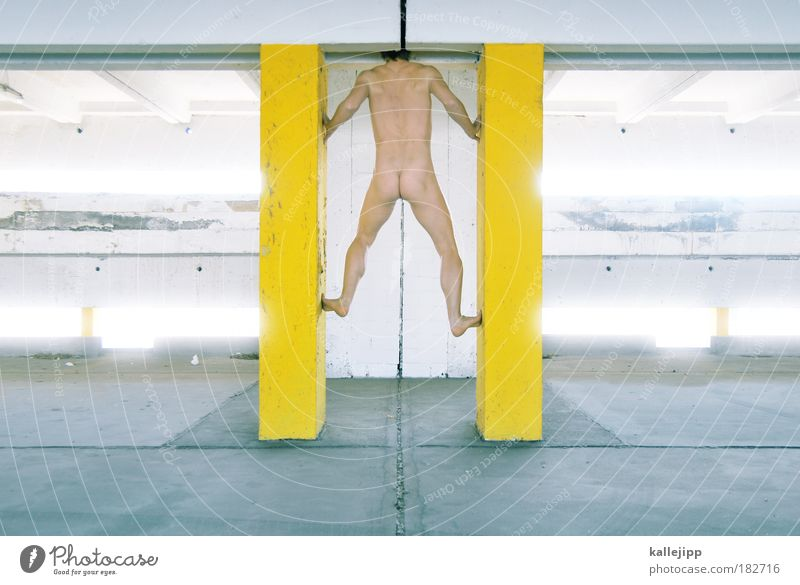 Human being Man Nude photography Adults Yellow Cold Life Wall (building) Naked Gray Wall (barrier) Style Healthy Body Masculine Modern