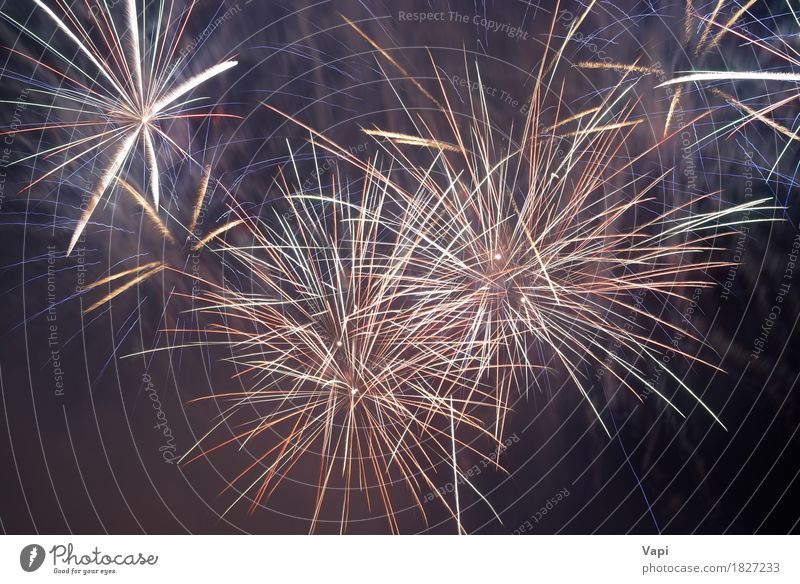 Beautiful colorful fireworks Sky Blue Christmas & Advent Colour Beautiful White Red Dark Black Yellow Happy Art Feasts & Celebrations Party Orange Design