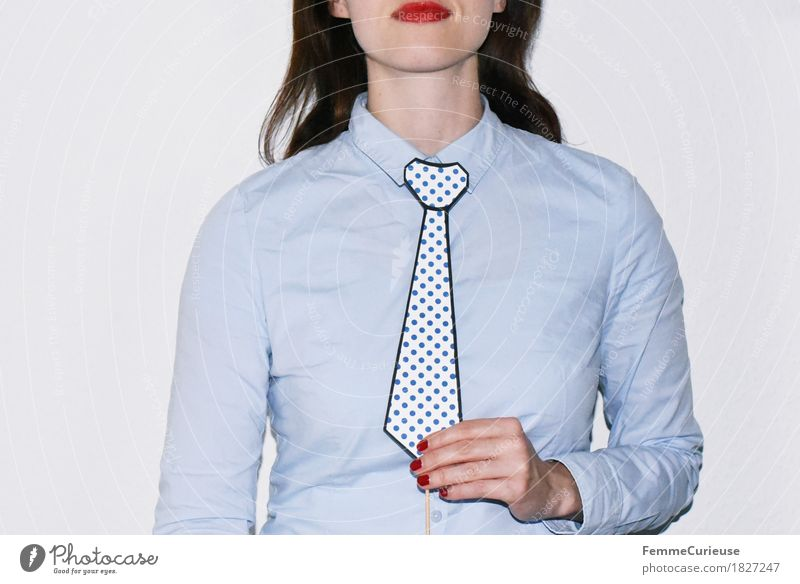 Tie_1827247 Feminine Young woman Youth (Young adults) Woman Adults Human being 18 - 30 years Business Earnest Businesswoman Masculine Shirt Blouse Light blue