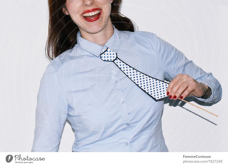 Tie_1827249 Feminine Young woman Youth (Young adults) Woman Adults Human being 18 - 30 years Joy Masculine Impaled Spotted To hold on Blouse Shirt Light blue